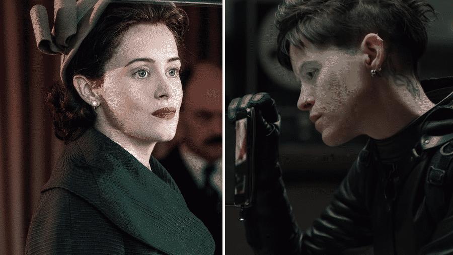 """Claire Foy em """"The Crown"""" e em """"Millennium: A Garota na Teia de Aranha"""" - Reprodução/Montagem"""