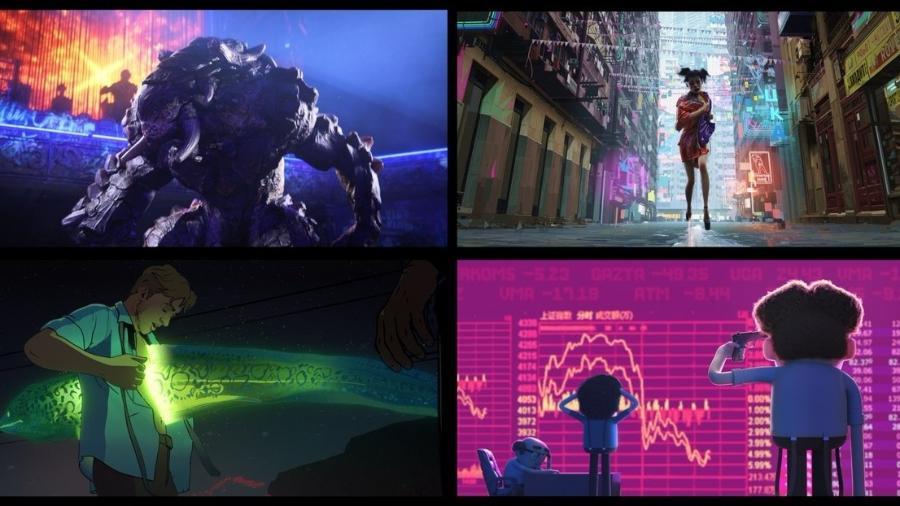 """Cenas de alguns dos episódios de """"Love, Death & Robots"""" - Reprodução/Twitter"""