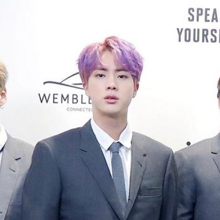 Jin pinta o cabelo de roxo para show do BTS em Wembley - Reprodução