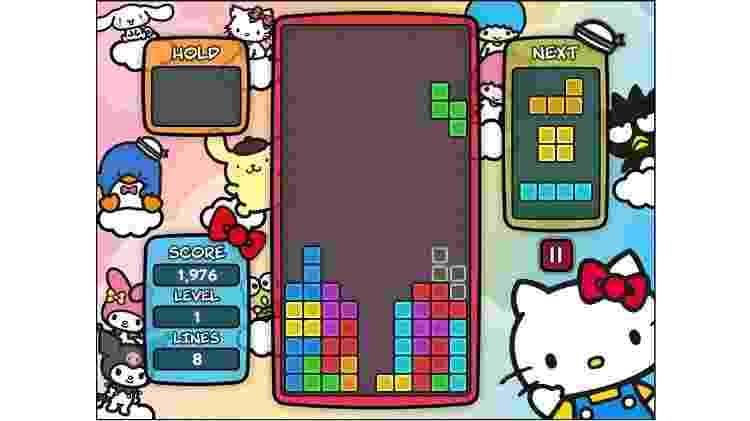 """A versão Hello Kitty de """"Tetris"""" pode ser jogada com mouse ou teclado em qualquer navegador - Reprodução"""