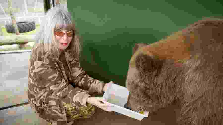 A cantora alimenta a ursa sibéria no santuário ecológico Rancho dos Gnomos, no interior de São Paulo - Guilherme Samora/Globo Livros