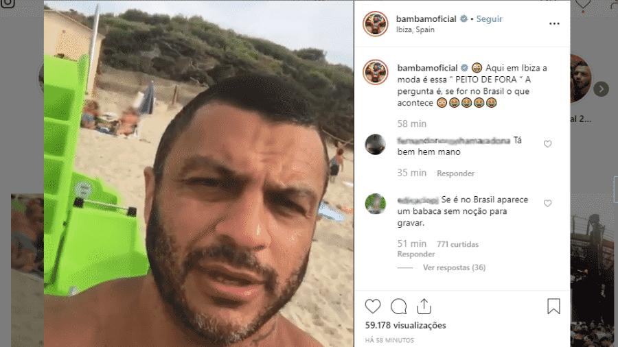 Kleber Bambam filma mulher fazendo topless em Ibiza e é detonado por seus seguidores - Reprodução/Instagram