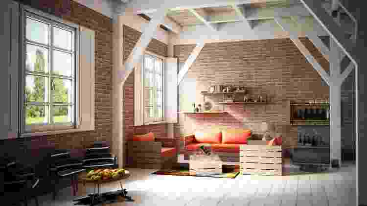 Sala com pallets - Getty Images/iStockphotos - Getty Images/iStockphotos