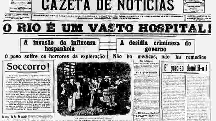 Jornal da época da gripe espanhola - Divulgação - Divulgação