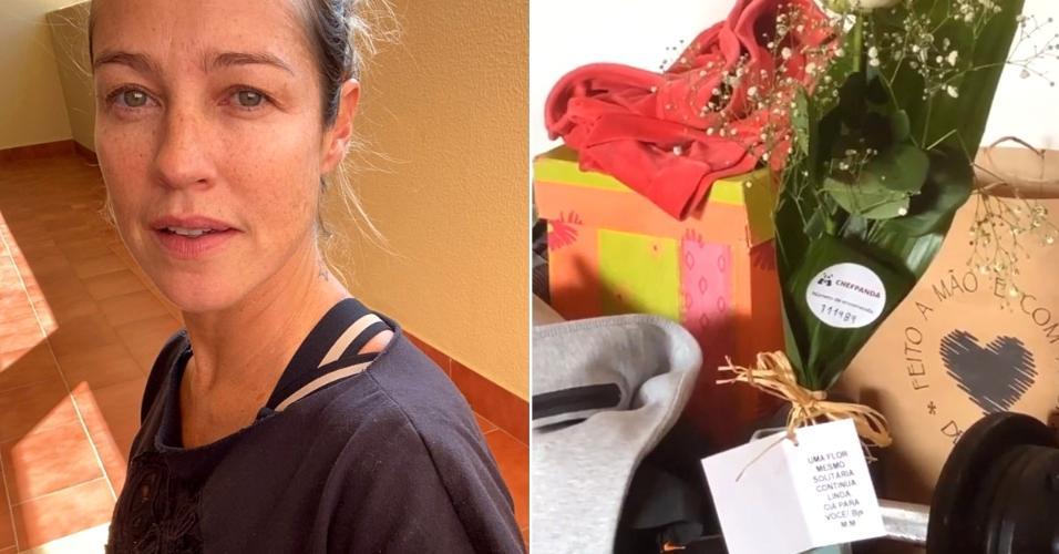 Luana Piovani ganha flores de admirador