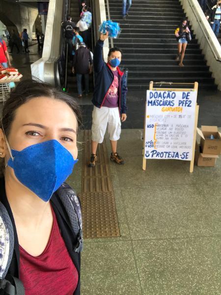 A engenheria geóloga Fabia Richter inaugurou a própria campanha de doação de máscaras PFF2 em Brasília; solução poderia proteger milhares de família - Arquivo