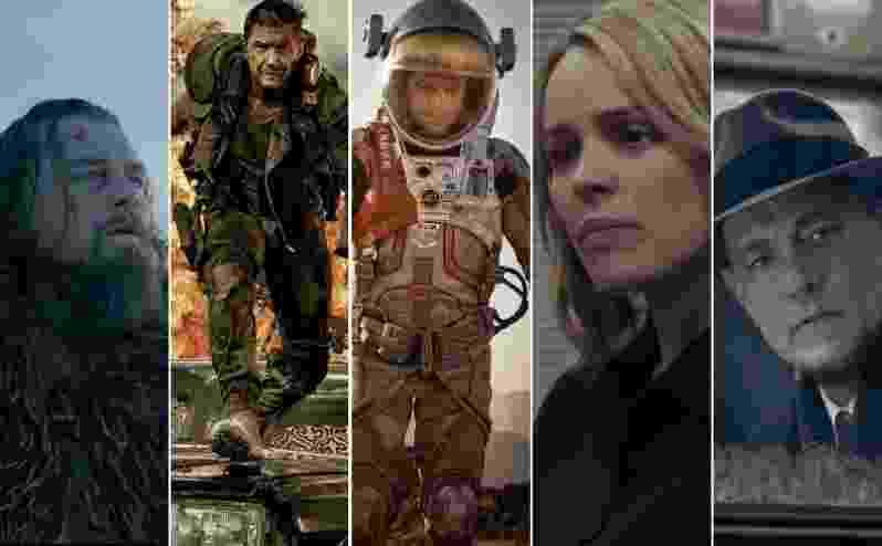 """""""O Regresso"""" lidera a corrida do Oscar 2016 com 12 indicações, seguido de """"Mad Max: Estrada da Fúria"""" (10), """"Perdido em Marte"""" (7), """"Spotlight - Segredos Revelados"""" (6) e """"Ponte dos Espiões"""" (6) - Divulgação/Montagem UOL"""