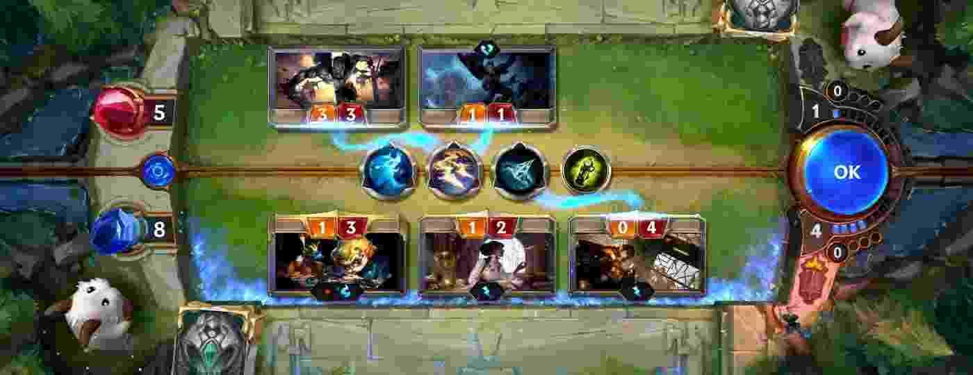 Legends of Runeterra: um jogador de cada lado da mesa batalhando com Campeões do universo de League of Legends - Divulgação/Riot Games