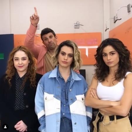 Debora Lamm, Milhem Cortaz, Letícia Lima e Nanda Costa nos bastidores do Domingão do Faustão - Reprodução/Instagram