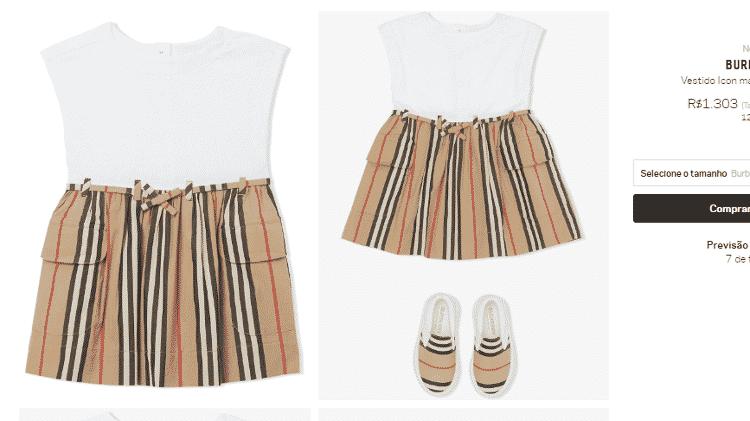 Vestido da Burberry usado por Zoe custa R$ 1,3 mil - Reprodução