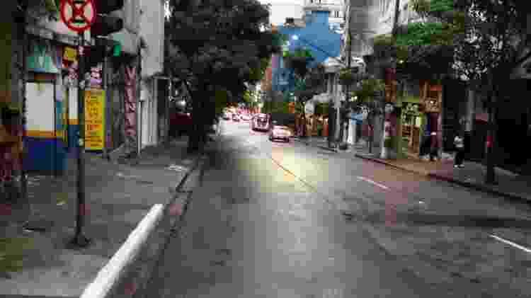 Ciclovia da rua Rêgo Freitas, no centro de São Paulo, foi apagada há duas semanas para reestruturação - Diego Salgado/UOL