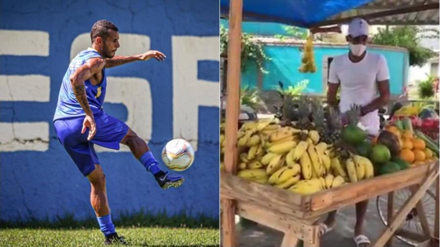 Sem contrato, Gedeilson Oliveira, jogador de futebol do Madureira, abriu barraca de feira - Montagem de fotos de reprodução/Instagram