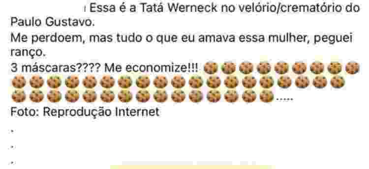 Internauta critica Tatá Werneck em velório de Paulo Gustavo - Reprodução/Instagram - Reprodução/Instagram