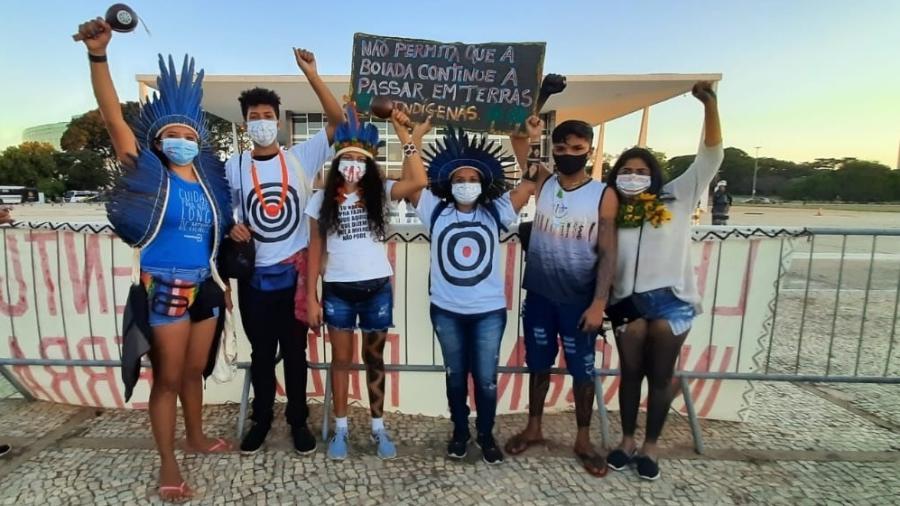 Jovens indígenas durante manifestação contra o PL490 em Brasília em junho de 2021 - Conselho Indígena Tapajós Arapiuns
