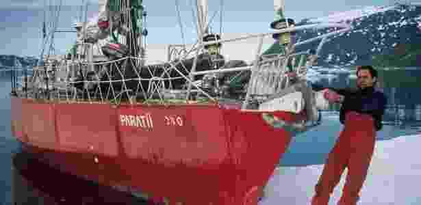 O velejador Amyr Klink em uma de suas expedições solo - AKPE/Divulgação