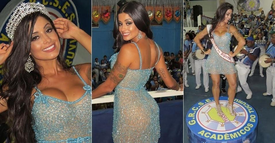 4.out.2015 - De vestido curto e decote, a ex-bailarina do Faustão Aline Riscado é coroada rainha de bateria da escola de samba Acadêmicos do Tucuruvi, de São Paulo