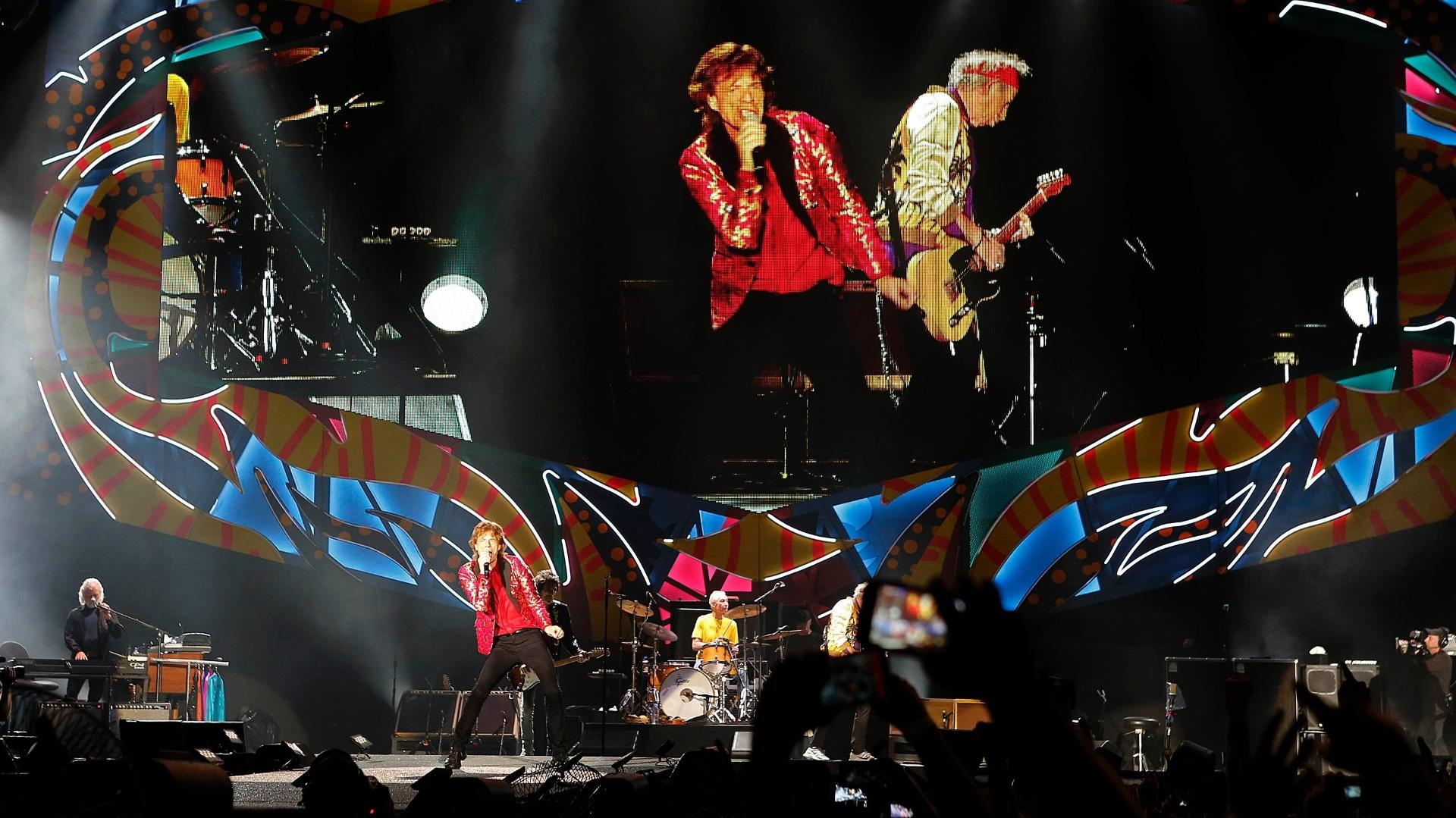 20.fev.2016 - Rolling Stones se apresentam no estádio do Maracanã, no Rio de Janeiro