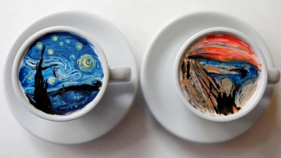 """""""A Noite Estrelada"""", de Vincent van Gogh, e """"O Grito"""", de Edvard Munch, em xícaras de café - Reprodução"""