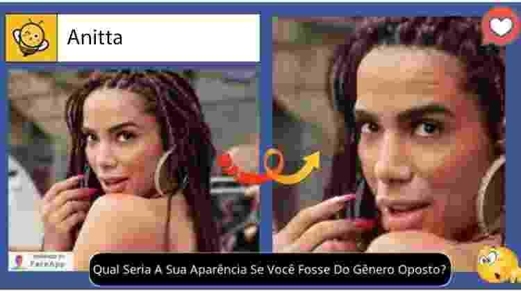 Anitta se fosse homem, segundo brincadeira no Facebook - Reprodução - Reprodução