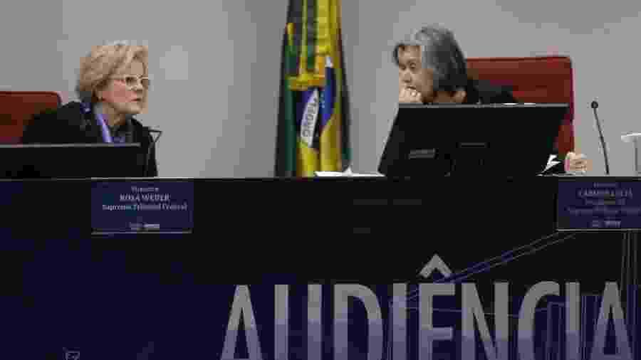 As ministras do STF Cármen Lúcia e Rosa Weber durante audiência sobre ação movida pelo PSOL - José Cruz/Agência Brasil