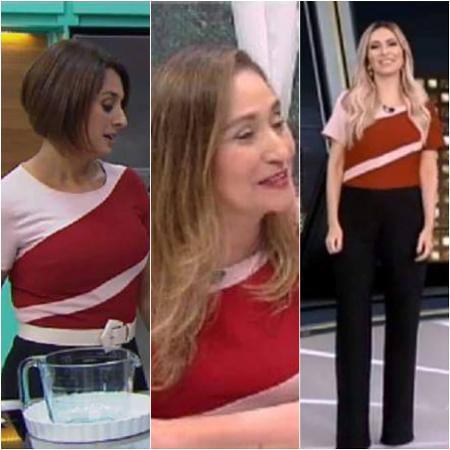 Cátia Fonseca, Sonia Abrão e Thalita Oliveira usam mesmo figurino - Reprodução/TV Bandeirantes/RedeTV/TV Record Montagem/UOL