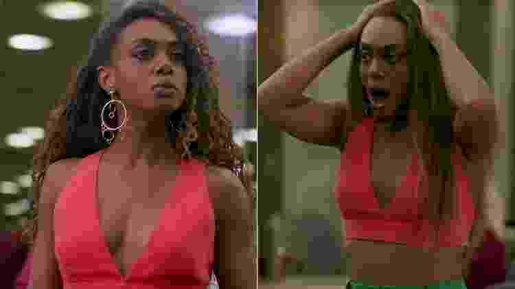 """Dandara (Dandara Mariana) se desespera após ter cabelo alisado em """"Verão 90"""" - Reprodução/TV Globo"""