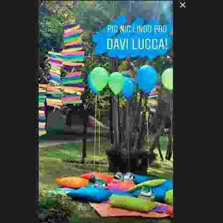 Piquenique de aniversário de Davi Lucca foi no condomínio onde moram - Reprodução/Instagram