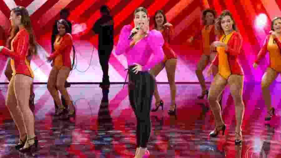 Kelly Key cantou um de seus hits durante participação no Domingão do Faustão - Reprodução/TV Globo