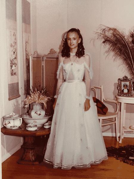 A mãe da Rebecca em seu casamento com o vestido - Arquivo Pessoal - Arquivo Pessoal