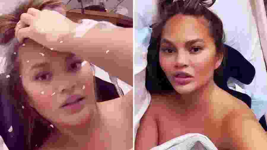 Chrissy Teigen em hospital - Reprodução/Instagram