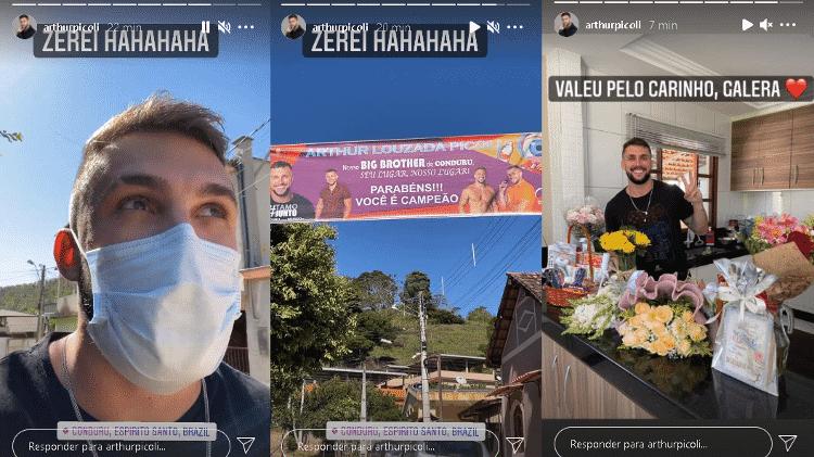 BBB 21: Arthur encontra faixa em sua homenagem em Conduru, ES - Instagram/@arthurpicoli - Instagram/@arthurpicoli