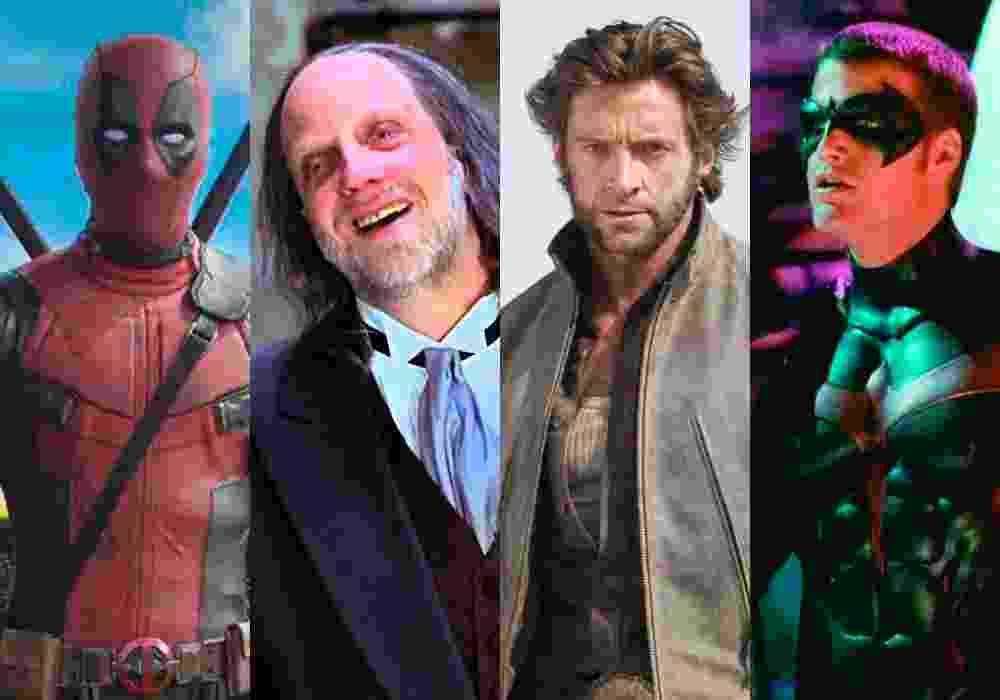 """Cenas dos filmes """"Deadpool"""" (2016), de Tim Miller, """"Todo Mundo em Pânico 2"""" (2001), de Keenen Ivory Wayans, """"X-Men Origens: Wolverine"""" (2009), de Gavin Hood e """"Batman & Robin"""" (1997), de Joel Schumacher - Reprodução/Montagem"""