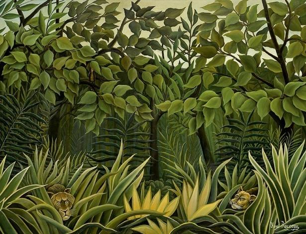 """Imagem de """"Dois Leões à Espreita na Selva"""", do pintor Henri Rousseau  - Reprodução"""