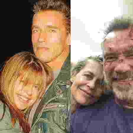 """Antes e depois: Arnold Schwarzenegger e Linda Hamilton posam juntos após 34 anos do primeiro """"Exterminador do Futuro"""" - Reprodução"""