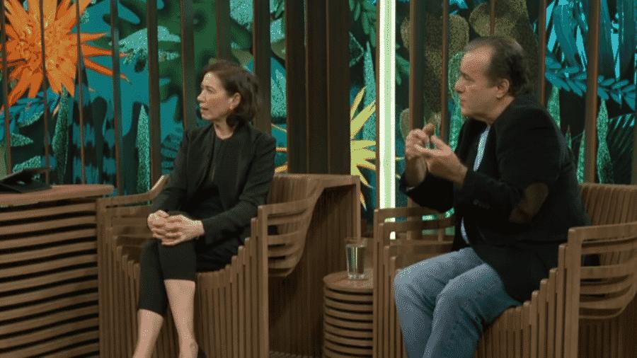 Tony Ramos e Lília Cabral no programa de Pedro Bial - Reprodução