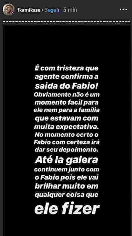 Perfil oficial do Fabio no Instagram posta mensagem sobre a saída do ex-participante - Reprodução - Reprodução
