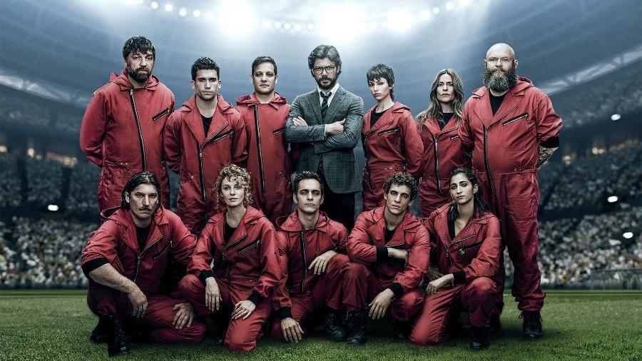 Tal qual um time de futebol, o bando de assaltantes de La Casa de Papel despertou a paixão dos fãs da série pelo mundo todo - Divulgação
