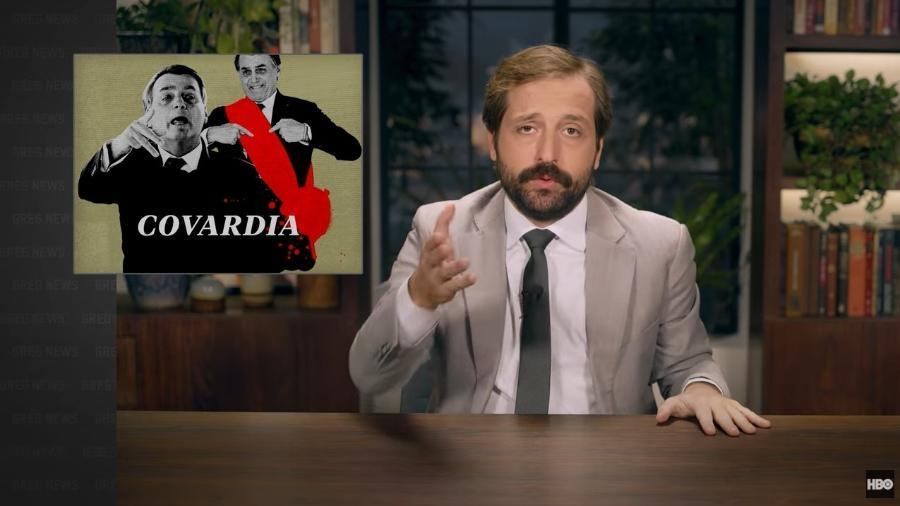 """Na estreia da quinta temporada do """"Greg News"""", Gregorio Duvivier criticou a postura do presidente na pandemia - Reprodução"""