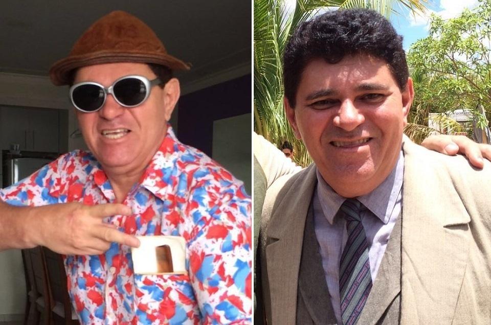 O humorista Ivann Gomes como Batoré (à esquerda) e como delegado em