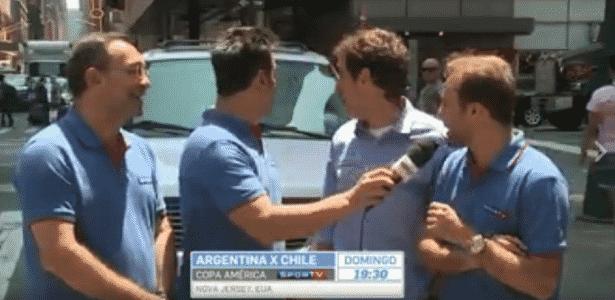 """Equipe do SporTV é surpreendida e """"expulsa"""" durante link em Nova York - Reprodução/SporTV"""