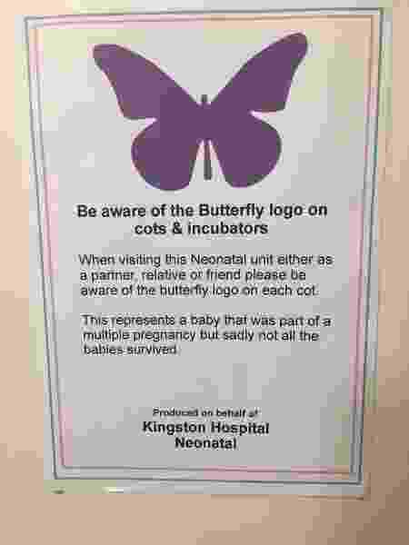 Símbolo em hospital avisa que bebê era parte de uma gestação múltipla em que nem todos sobreviveram - Reprodução/arquivo pessoal