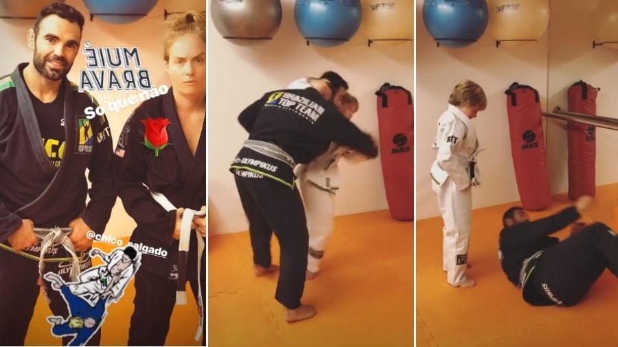 Chico Salgado em treino de jiu-jitsu com Angélica e o filho dela, Benício - Reprodução/Instagram