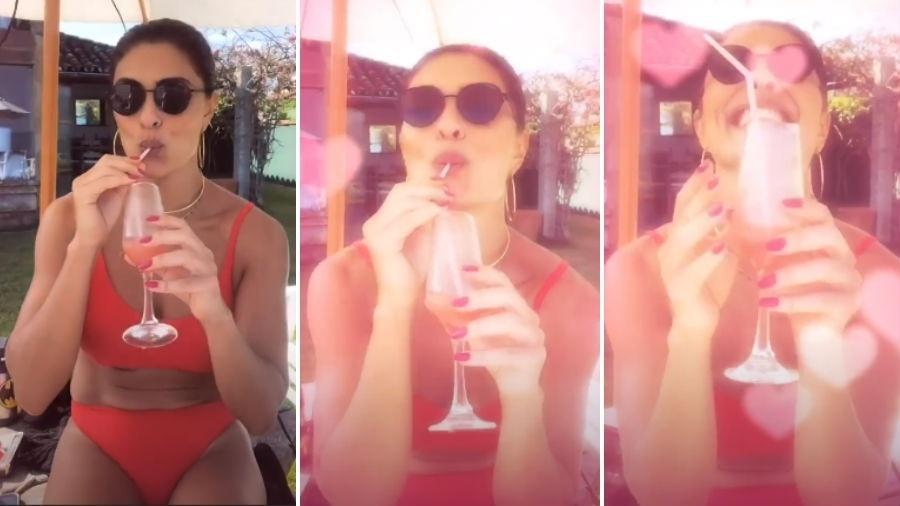 Juliana Paes brinda com drinque o final de semana de sol e calor na Região dos Lagos, no Rio - Reprodução/Instagram/@julianapaes