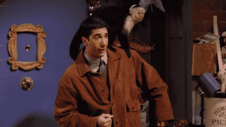 """Ross e o macaco Marcel em cena de """"Friends"""" - Reprodução - Reprodução"""