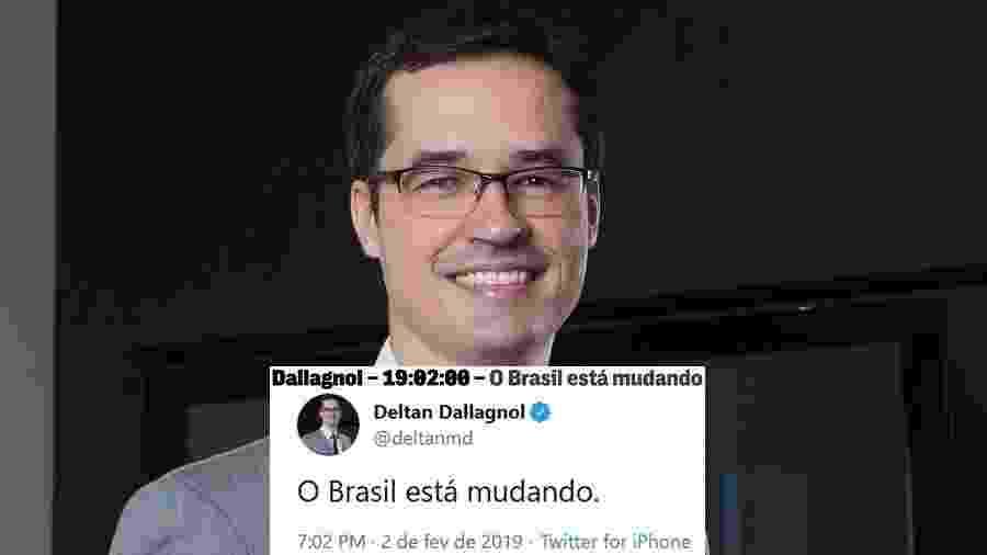 """Deltan Dallagnol, procurador da República, e a frase que virou meme: """"O Brasil está mudando"""" - Montagem/UOL/Rogério Hoepers/Reprodução/Twitter/TheInterceptBr/deltanmd"""