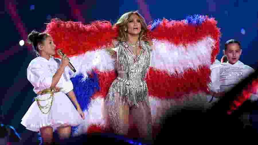 Emme Maribel e Jennifer Lopez no Super Bowl - Jeff Kravitz / FilmMagic