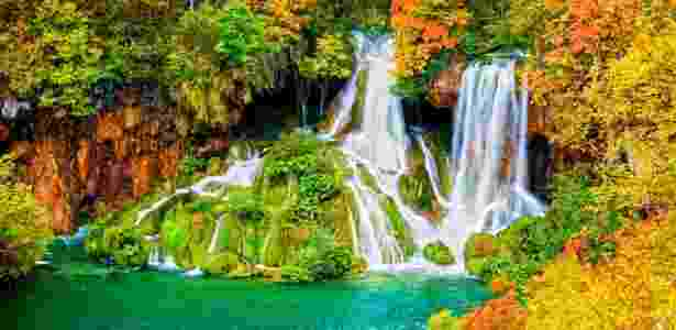 Cachoeira do Parque Nacional dos Lagos de Plitvice, na Croácia - Getty Images - Getty Images