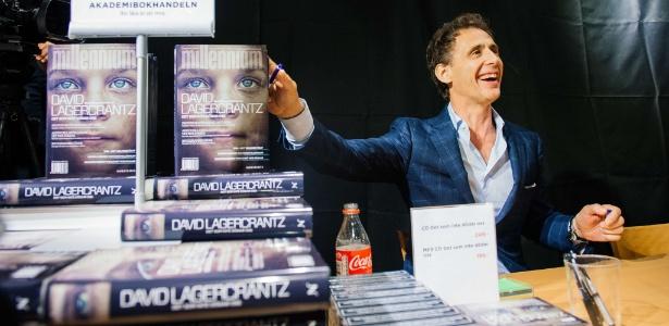 """O escritor sueco David Lagercrantz no lançamento de """"A Garota na Teia de Aranha"""" - Jonathan Nackstrand/AFP"""