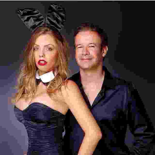 """Rafaela Prado com o publisher e vice-presidente da revista """"Playboy"""", André Sanseverino - Arquivo pessoal"""