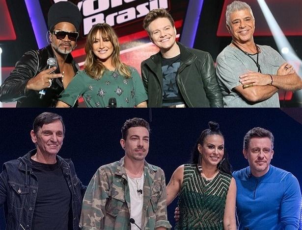 """Jurados do """"The Voice Brasil"""" e do """"X Factor"""" - Divulgação/Montagem"""